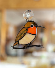 Load image into Gallery viewer, Stained glass suncatcher hummingbird gift Custom stained glass window hangings bird lover gift
