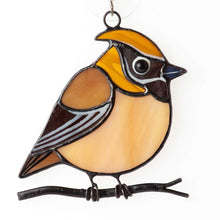 Load image into Gallery viewer, Cedar waxwing stained glass suncatcher grandma gift Custom stained glass window hangings fat bird light catcher