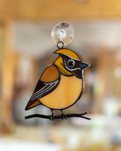 Cedar waxwing stained glass suncatcher grandma gift Custom stained glass window hangings fat bird light catcher