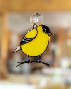 Goldfinch stained glass bird suncatcher mom gift Custom stained glass window hangings fat bird lover gift