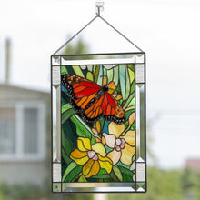 Load image into Gallery viewer, Stained glass panel depicting monarch butterfly with orchids for window