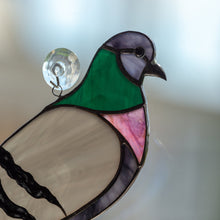 Load image into Gallery viewer, Zoomed stained glass pigeon suncatcher