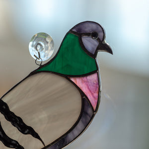 Zoomed stained glass pigeon suncatcher