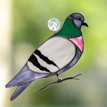 Load image into Gallery viewer, Colourful stained glass pigeon on the branch suncatcher