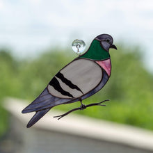 Load image into Gallery viewer, Pigeon window hanging of stained glass