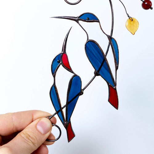 blue winged hummingbirds with red tails stained glass suncatcher