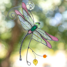 Load image into Gallery viewer, Dragonfly Stained glass window hangings  gift Custom stained glass suncatcher garden decor dragonfly gift