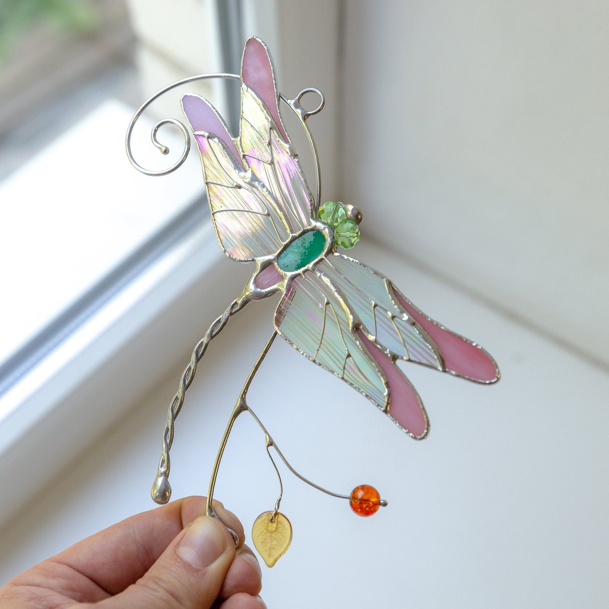 gift bag suncatcher Pretty Pink   crystal  window hanging 3D Dragonfly