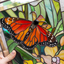 Load image into Gallery viewer, Zoomed stained glass panel depicting monarch butterfly with yellow orchid