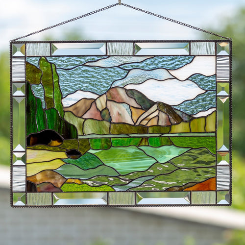 Stained glass Grand Teton national park panel depicting its mountains and String Lake