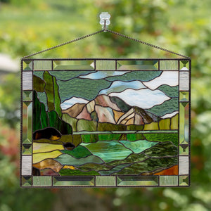 Stained glass window hangings panel anniversary gift Grand Teton National park  wedding parent gift