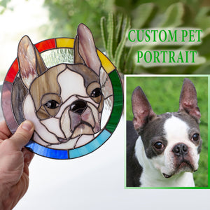 Stained glass custom window hanging depicting a dog