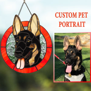 Stained glass pet portrait depicting German shepherd dog