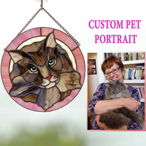Stained glass pink-framed window hanging portrait of a cat