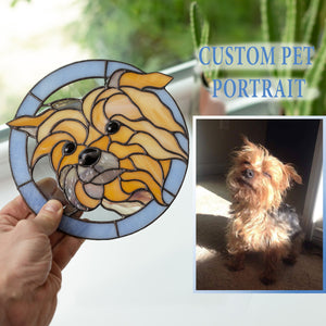 Stained glass custom pet portrait depicting Yorkshire terrier