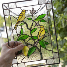 Load image into Gallery viewer, Stained glass window panel canary birds on lemon tree mom gift Modern stained glass window hangings decor