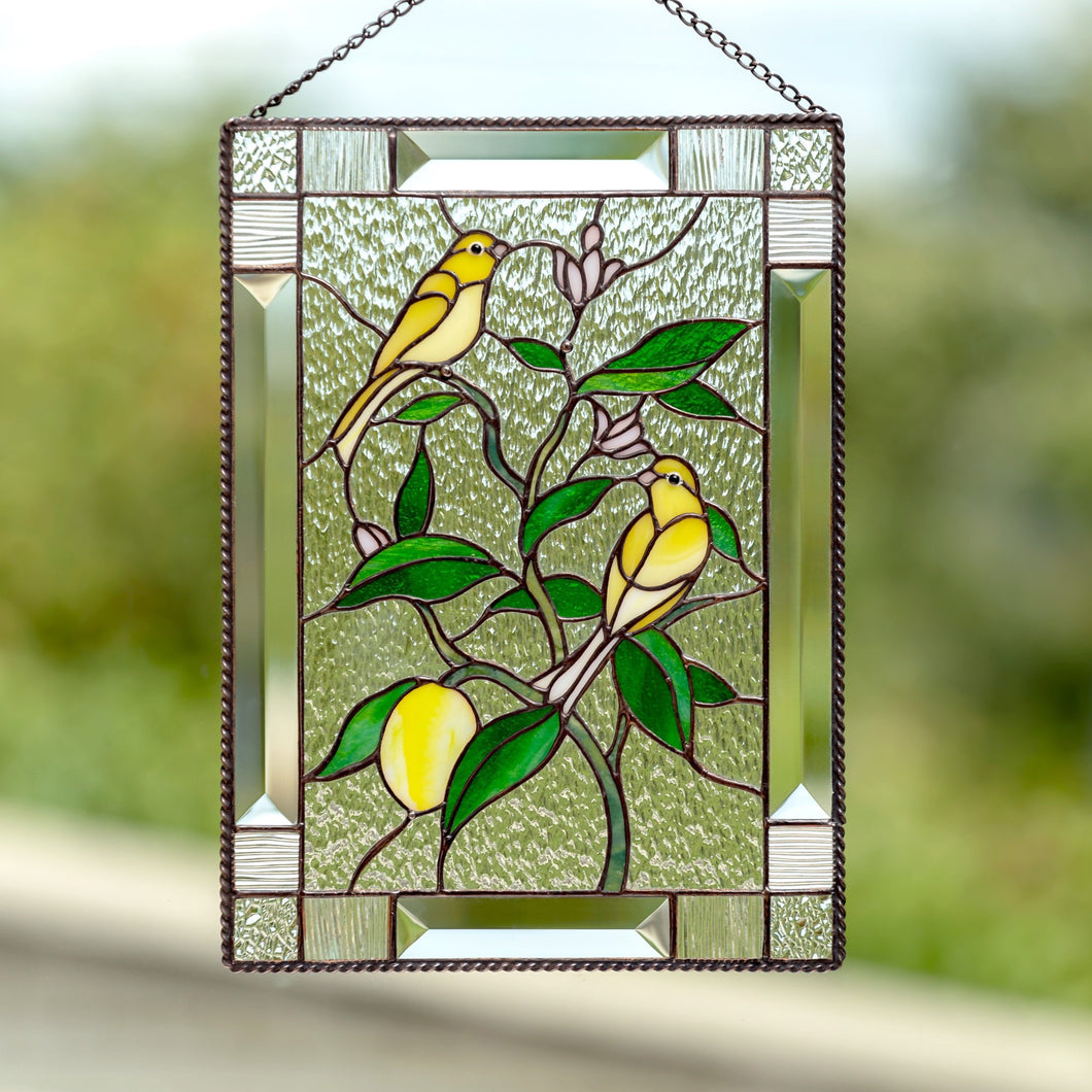 Stained glass window panel canary birds on lemon tree mom gift Modern stained glass window hangings decor