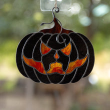 Load image into Gallery viewer, Black pumpkin with creepy face - Halloween stained glass suncatcher