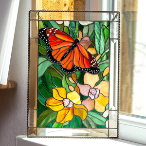 Monarch butterfly with orchids panel of stained glass