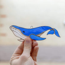 Load image into Gallery viewer, Stained glass royal blue whale with the tail down suncatcher