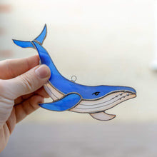 Load image into Gallery viewer, Royal blue stained glass whale suncatcher for home decor