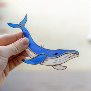Royal blue stained glass whale suncatcher for home decor