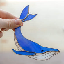 Load image into Gallery viewer, Royal blue stained glass whale with tail up suncatcher for window decoration