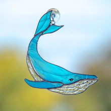 Load image into Gallery viewer, Stained glass light blue whale with clear lower part suncatcher