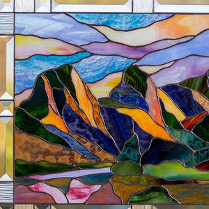 Zoomed stained glass Three Sisters Mountain wall hanging
