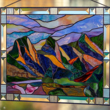 Load image into Gallery viewer, Zoomed stained glass Three Sisters Mountains window hanging