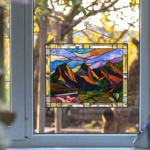 Three Sisters Mountain stained glass window hanging panel