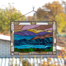 Load image into Gallery viewer, Stained glass landscape of mount Washington panel