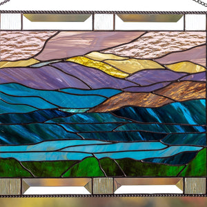 Zoomed stained glass mount Washington panel