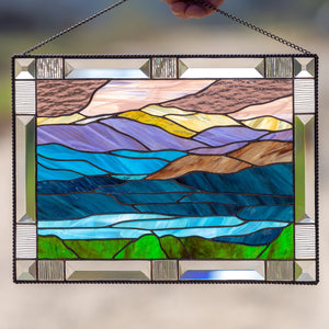 Stained glass Mount Washington panel