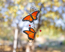 Load image into Gallery viewer, Monarch butterflies stained glass window hangings decor  for mom friend