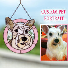 Load image into Gallery viewer, Custom stained glass pink-framed portrait of a dog made from photo