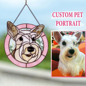Custom stained glass pink-framed portrait of a dog made from photo