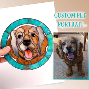 Turquoise-framed stained glass round panel depicting a dog made from photo