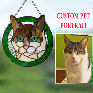 Custom stained glass round panel of a cat in a green frame