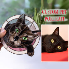 Load image into Gallery viewer, Cute stained glass custom pet portrait of a cat