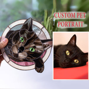 Cute stained glass custom pet portrait of a cat