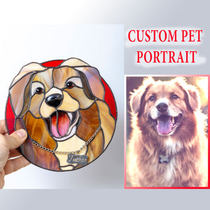 Round stained glass custom window hanging depicting a dog with its name on the collar