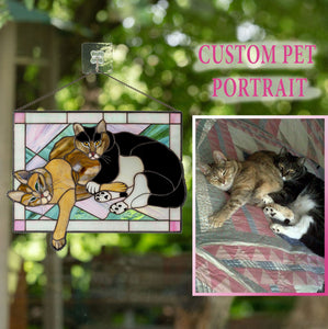 Stained glass rectangular portrait of 2 cats lying together