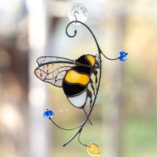 Load image into Gallery viewer, Stained glass suncatcher of a bumblebee with clear wings