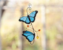 Load image into Gallery viewer, Blue Morpho butterfly stained glass suncatcher