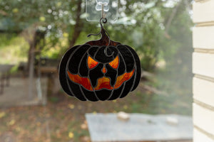 Halloween pumpkin decor Horror gifts Modern stained glass fall decorations Spooky stained glass window hangings