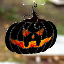 Load image into Gallery viewer, Halloween stained glass decor Glass pumpkin horror decor Halloween gifts Fall stained glass suncatcher