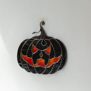 Halloween stained glass decor Glass pumpkin horror decor Halloween gifts Fall stained glass suncatcher