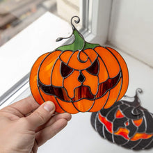 Load image into Gallery viewer, Halloween stained glass pumpkin with creepy face