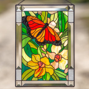 Stained glass monarch butterfly with orchids panel for home decor